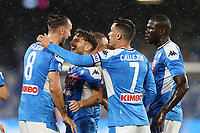 Fabian Ruiz of SSC Napoli celebrates with team mates after scoring a goal<br /> during the Serie A football match between SSC  Napoli and SS Lazio at stadio San Paolo in Naples ( Italy ), August 01st, 2020. Play resumes behind closed doors following the outbreak of the coronavirus disease. <br /> Photo Cesare Purini / Insidefoto