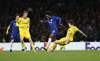 Chelsea's Willian is challenged by BATE Borisov's Stanislav Dragun<br /> <br /> Photographer Rob Newell/CameraSport<br /> <br /> UEFA Europa League Group L - Chelsea v FC BATE Borisov - Thursday 25th October - Stamford Bridge - London<br />  <br /> World Copyright © 2018 CameraSport. All rights reserved. 43 Linden Ave. Countesthorpe. Leicester. England. LE8 5PG - Tel: +44 (0) 116 277 4147 - admin@camerasport.com - www.camerasport.com