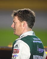 Oct. 15, 2009; Concord, NC, USA; NASCAR Sprint Cup Series driver Dale Earnhardt Jr during qualifying for the Banking 500 at Lowes Motor Speedway. Mandatory Credit: Mark J. Rebilas-