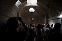 Sunshine flows into the thermal baths through a skylight on Friday, Sept. 18, 2015, in Pompeii, Italy. The city of Pompeii was destroyed when nearby Mount Vesuvius erupted on August 24, AD 79. The town and its residents were buried and forgotten until the ruins were discovered and eventually excavated hundreds of years later. The ruins are one of Italy's top tourist attractions today. (Photo by James Brosher)