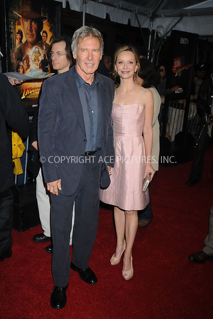 WWW.ACEPIXS.COM . . . . .....May 20, 2008. New York City,....Actors Harrison Ford and Calista Flockhart arrive at the 'Indiana Jones and the Kingdom of the Crystal Skull' Premiere held at the AMC Magic Johnson Harlem 9...  ....Please byline: Kristin Callahan - ACEPIXS.COM..... *** ***..Ace Pictures, Inc:  ..Philip Vaughan (646) 769 0430..e-mail: info@acepixs.com..web: http://www.acepixs.com