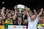 Marc O'Se lifts the Sam Maguire Cup to celebrate  Kerry's victory over Donegal in the All-Ireland Football Final against  in Croke Park 2014.<br /> Photo: Don MacMonagle<br /> <br /> <br /> Photo: Don MacMonagle <br /> e: info@macmonagle.com