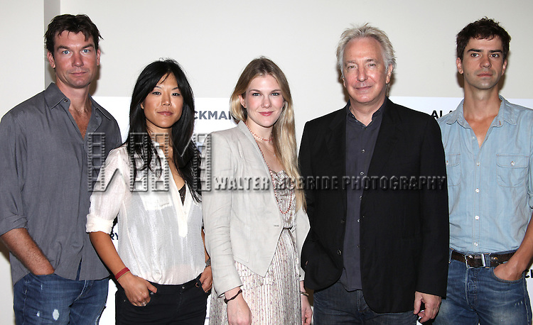 (LtoR) Hettienne Park, Jerry O'Connell, Lily Rabe, Alan Rickman & Hamish Linklater.attending the New Broadway Production 'Seminar' Meet & Greet at the Foxwoods Rehearsal Studioa in New York City.