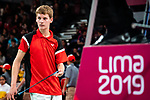 Lima, Peru -  31/August/2019 -   William Roussy competes in the bronze medal match in badminton at the Parapan Am Games in Lima, Peru. Photo: Dave Holland/Canadian Paralympic Committee.