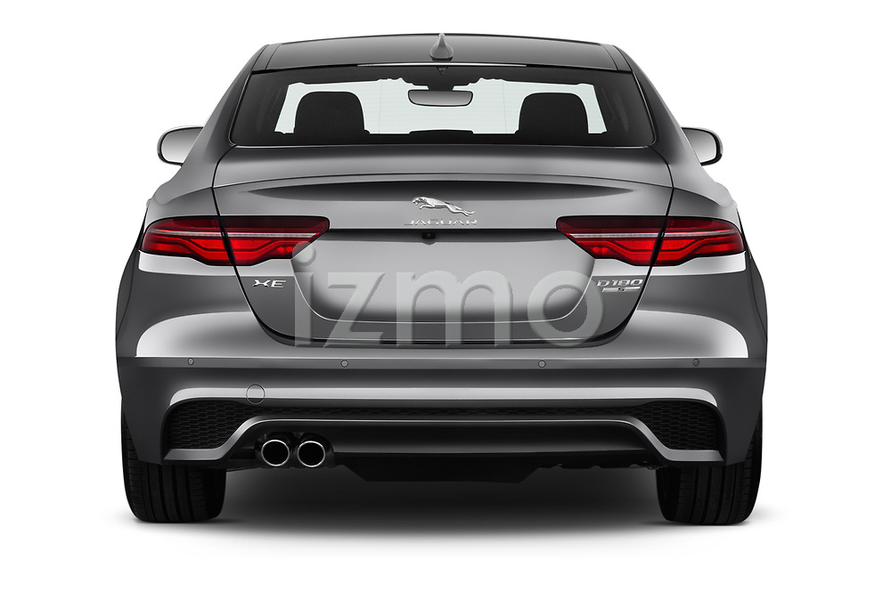 Straight rear view of a 2020 Jaguar XE S 4 Door Sedan stock images