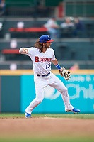 Buffalo Bisons Bo Bichette (13) throws to first base during an International League game against the Norfolk Tides on June 21, 2019 at Sahlen Field in Buffalo, New York.  Buffalo defeated Norfolk 2-1, the first game of a doubleheader.  (Mike Janes/Four Seam Images)