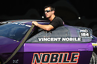 Sept. 17, 2010; Concord, NC, USA; NHRA pro stock driver Vincent Nobile during qualifying for the O'Reilly Auto Parts NHRA Nationals at zMax Dragway. Mandatory Credit: Mark J. Rebilas/