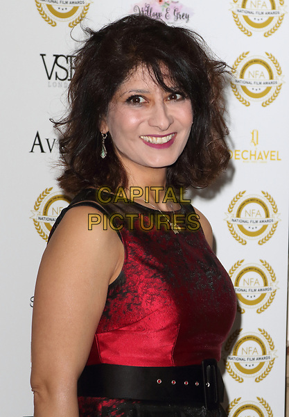 Shappi Khorsandi at the National Film Awards at the Porchester Hall, London on  Wednesday 28 March 2018 <br /> CAP/ROS<br /> &copy;ROS/Capital Pictures