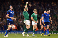 Jamie Heaslip of Ireland celebrates at the final whistle. Rugby World Cup Pool D match between France and Ireland on October 11, 2015 at the Millennium Stadium in Cardiff, Wales. Photo by: Patrick Khachfe / Onside Images