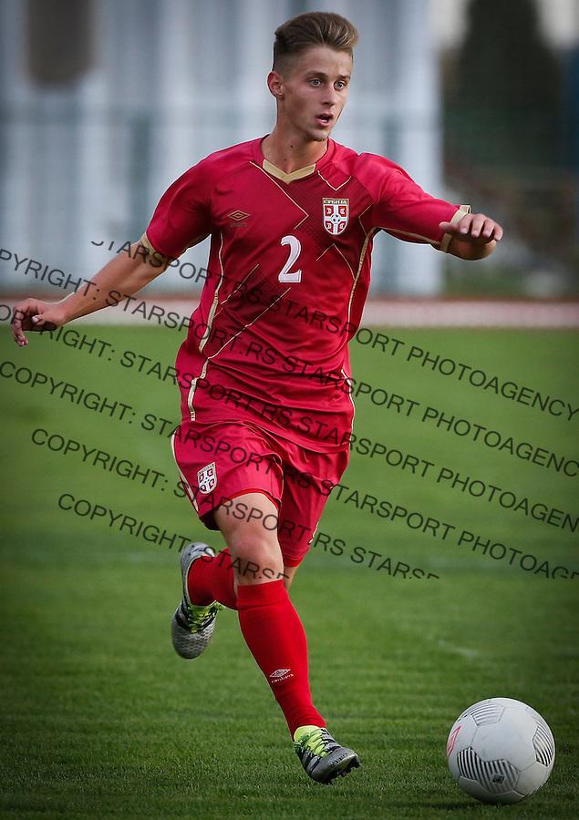 Fudbal Soccer<br /> International Friendly-Prijateljski mec<br /> Srbija U17 v Belorusiaj U17<br /> Nikola Simonovic<br /> Stara Pazova, 20.09.2016<br /> foto: Srdjan Stevanovic/Starsportphoto &copy;