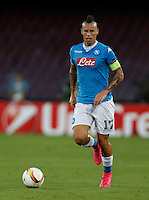Napoli's Marek Hamsik  controls the ball during the Europa  League Group D soccer match against Brugge  at the San Paolo  Stadium in Naples September 17, 2015