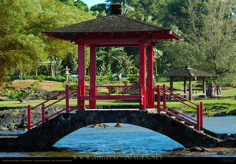 Gazebo on Stone Bridge, Waihonu Pond, Liliuokalani Gardens, Hilo, Big Island of Hawaii