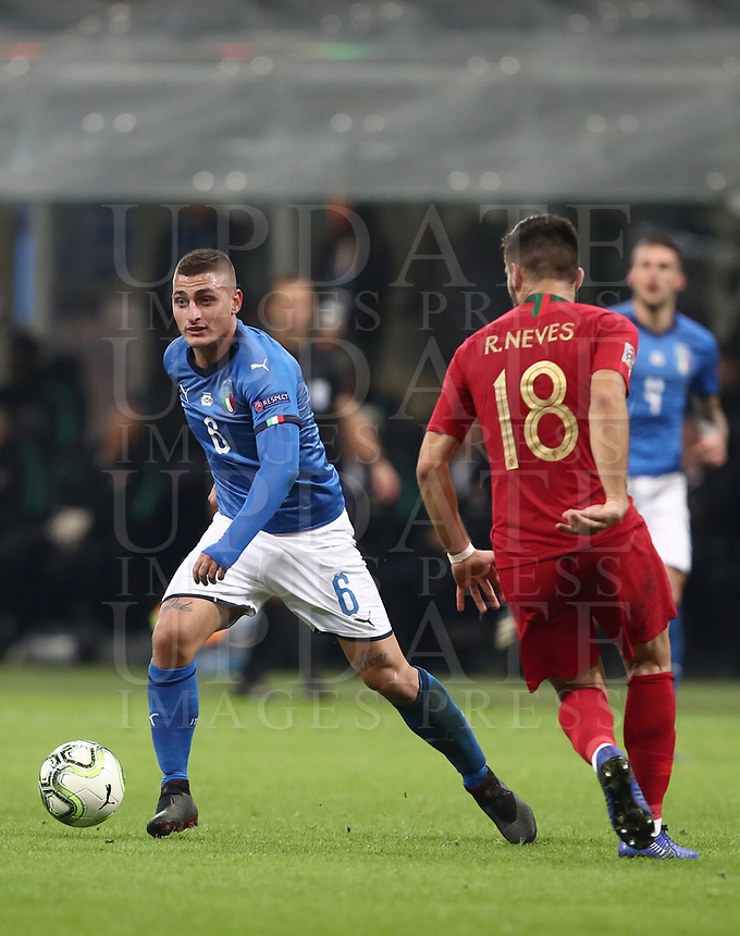 Football: Uefa Nations League Group 3match Italy vs Portugal at Giuseppe Meazza (San Siro) stadium in Milan, on November 17, 2018.<br /> Italy's Marco Verratti (l) in action with Portugal's Ruben Neves (r) during the Uefa Nations League match between Italy and Portugal at Giuseppe Meazza (San Siro) stadium in Milan, on November 17, 2018.<br /> UPDATE IMAGES PRESS/Isabella Bonotto