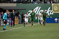 PORTLAND, OR - MARCH 01: Felipe Mora #9 of the Portland Timbers controls the ball during a game between Minnesota United FC and Portland Timbers at Providence Park on March 01, 2020 in Portland, Oregon.