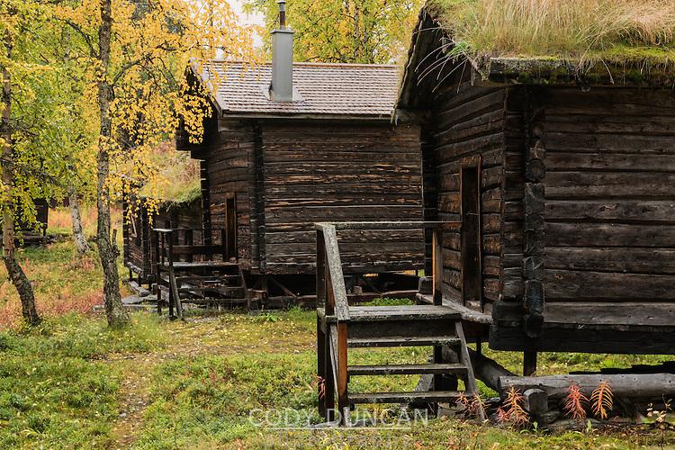 historic wooden cabins on old Sami church town, Ammarnäs, Lapland, Sweden