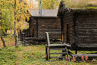 historic wooden cabins on old Sami church town, Ammarnäs, Lapland, Sweden