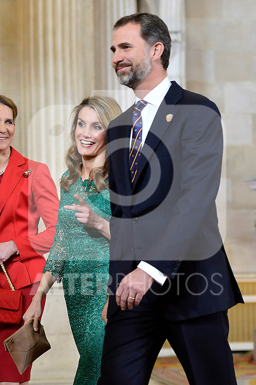 Princess Letizia of Spain and Prince Felipe os Spain receive International Olympic Committee Evaluation Commission Team for a dinner at the Royal Palace.March 20,2013. (ALTERPHOTOS/Pool)