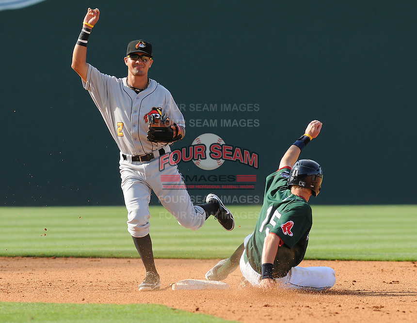 Second baseman Francisco Aponte (2) of the West Virginia Power turns the first half of a double play by tagging out Jordan Weems (15) of the Greenville Drive to end the seventh inning of a game on May 20, 2012, at Fluor Field at the West End in Greenville, South Carolina. Greenville won 6-5. (Tom Priddy/Four Seam Images)