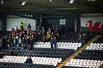 Visiting fans watching the action during the first-half at the Paisley2021 Stadium as Scottish Championship side St Mirren (in white) played Welsh champions The New Saints in the semi-final of the Scottish Challenge Cup for the right to meet Dundee United in the final. The competition was expanded for the 2016-17 season to include four clubs from Wales and Northern Ireland as well as Scottish Premier under-20 teams. Despite trailing at half-time, St Mirren won the match 4-1 watched by a crowd of 2044, including 75 away fans.