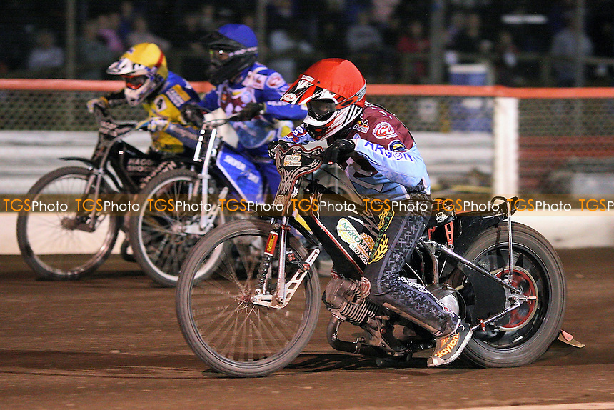 Heat 7: Shields (red), Woodward (yellow) and Silver- Lakeside Hammers vs Eastbourne Eagles - Sky Sports Elite League Speedway at Arena Essex Raceway, Purfleet - 04/09/09 - MANDATORY CREDIT: Gavin Ellis/TGSPHOTO - Self billing applies where appropriate - Tel: 0845 094 6026