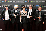 "Actors Francesc Colomer (L),  Javier Camara (2L), actress Natalia de Molina, director David Trueba (2R) and actor Jorge Sanz (R) posse in the photocall of the ""Vivir es facil con los ojos cerrados"" film presentation during the 61 San Sebastian Film Festival, in San Sebastian, Spain. September 24, 2013. (ALTERPHOTOS/Victor Blanco)"