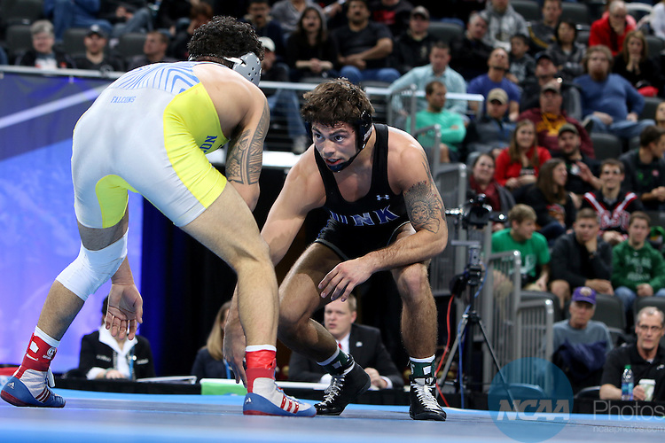 12 MARCH 2016:  Destin McCauley from Neb.-Kearney prepares to battle Isaac Dulgarian from Notre Dame (OH), in their 149 pound weight class at the 2016 NCAA Men's Division II Wrestling Championship at the Denny Sanford Premier Center in Sioux Falls, S.D. Photo by Dave Eggen/NCAA Photos