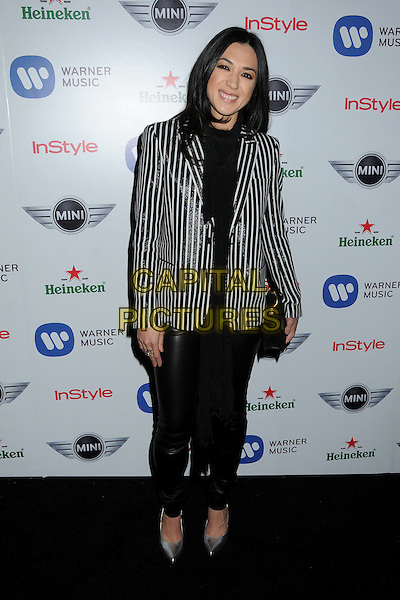 Michelle Branch.Warner Music Group 2013 Grammy Celebration held at The Chateau Marmont, West Hollywood, California, USA..February 10th, 2013.full length leather trousers clutch bag black top white stripe blazer .CAP/ADM/BP.©Byron Purvis/AdMedia/Capital Pictures.