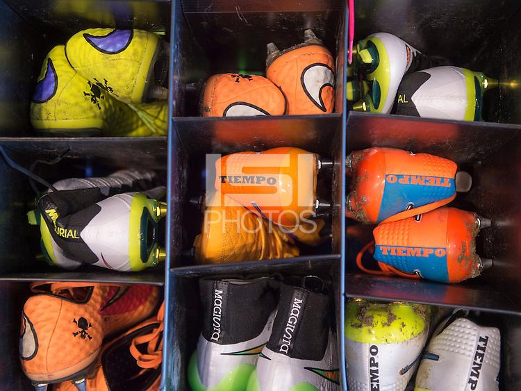 Harrison, NJ- May 26, 2015: USWNT Nike shoes sit in their storage bins.