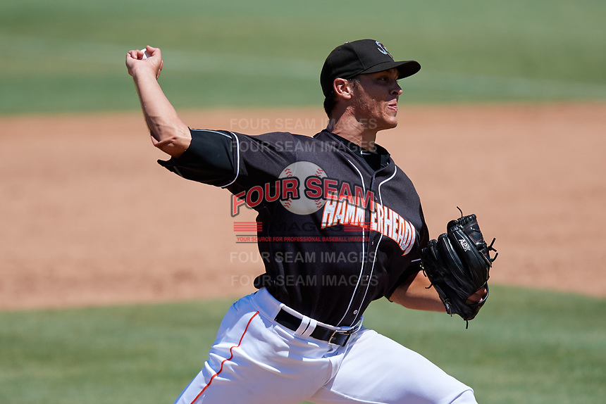 Jupiter Hammerheads relief pitcher Parker Bugg (29) delivers a pitch during a game against the Palm Beach Cardinals on August 5, 2018 at Roger Dean Chevrolet Stadium in Jupiter, Florida.  Jupiter defeated Palm Beach 3-0.  (Mike Janes/Four Seam Images)