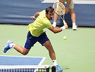 Washington, DC - August 9, 2015: Ivan Dodig (CRO) attempts a backhand shot during the Citi Open doubles final at Rock Creek Park Tennis Center in Washington, DC  August 9, 2015.  (Photo by Elliott Brown/Media Images International)