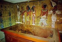 Sarcophagus at the Tomb of King Tutankhamun, Tut Ankh Amon, Valley of the Kings, Luxor, Egypt, North Africa