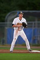 Burlington Bees first baseman Nick Flair (36) waits for a throw during a game against the Clinton LumberKings on August 20, 2015 at Community Field in Burlington, Iowa.  Burlington defeated Clinton 3-2.  (Mike Janes/Four Seam Images)