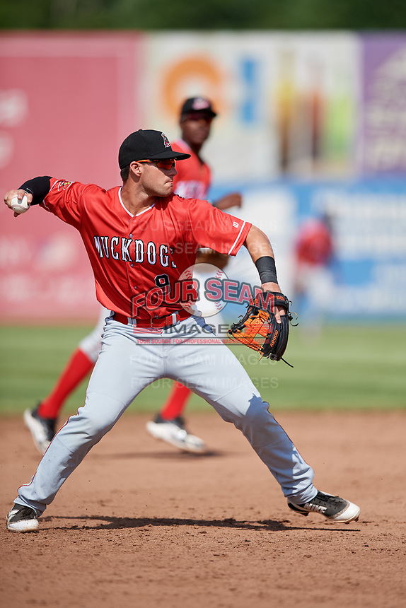 Batavia Muckdogs third baseman Denis Karas (9) during a game against the Auburn Doubledays on June 17, 2018 at Falcon Park in Auburn, New York.  Auburn defeated Batavia 10-6.  (Mike Janes/Four Seam Images)