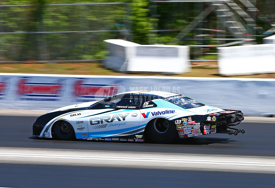 May 7, 2017; Commerce, GA, USA; NHRA pro stock driver Tanner Gray during the Southern Nationals at Atlanta Dragway. Mandatory Credit: Mark J. Rebilas-USA TODAY Sports