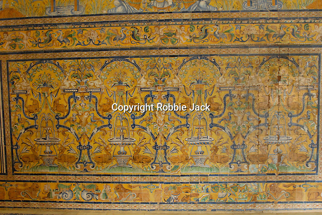 Detail of tiled dado in the Palacio Gotico (also known as the Halls of CharlesV) Salas de las Fiestas (or Halls of Celebration 1576-88 in El Alcazar in Seville, Spain.
