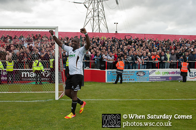 Ebbsfleet 0 Dover Athletic 1, 23/08.2014. Stonebridge Road, Conference South play-off final. The Skrill South play-off final between Ebbsfleet and Dover Athletic from Stonebridge Road. Dover won the match 1-0 to secure promotion to the Conference Premier. Goalscorer Nathan Elder celebrates. Photo by Simon Gill.