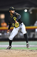 Bristol Pirates pitcher Saul De La Cruz (19) delivers a pitch during game two of the Appalachian League, West Division Playoffs against the Johnson City Cardinals at TVA Credit Union Ballpark on August 31, 2019 in Johnson City, Tennessee. The Cardinals defeated the Pirates 7-4 to even the series at 1-1. (Tony Farlow/Four Seam Images)