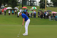 Thomas Pieters (Europe) on the 8th green during the Friday Foursomes of the Eurasia Cup at Glenmarie Golf and Country Club on the 12th January 2018.<br /> Picture:  Thos Caffrey / www.golffile.ie