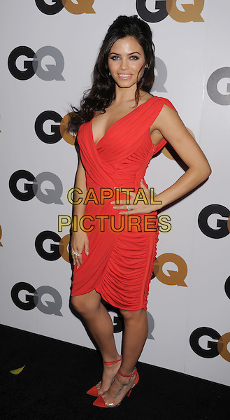 Jenna Dewan Tatum.Arriving at the GQ Men Of The Year Party at Chateau Marmont Hotel in Los Angeles, California, USA..November 13th, 2012.full length dress hand on hip wrap ruched red orange sleeveless.CAP/ROT/TM.©Tony Michaels/Roth Stock/Capital Pictures
