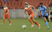 Rachel Daly (3) of the Houston Dash races up he field with the ball against Sky Blue FC on Friday, April 29, 2016 at BBVA Compass Stadium in Houston Texas. The Houston Dynamo and Sky Blue FC tied 0-0.