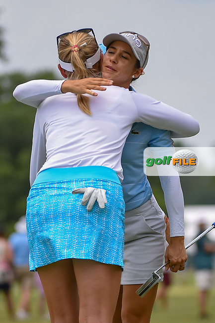 Azahara Munoz (ESP) hugs Jessica Korda (USA) following round 2 of the 2019 US Women's Open, Charleston Country Club, Charleston, South Carolina,  USA. 5/31/2019.<br /> Picture: Golffile | Ken Murray<br /> <br /> All photo usage must carry mandatory copyright credit (© Golffile | Ken Murray)