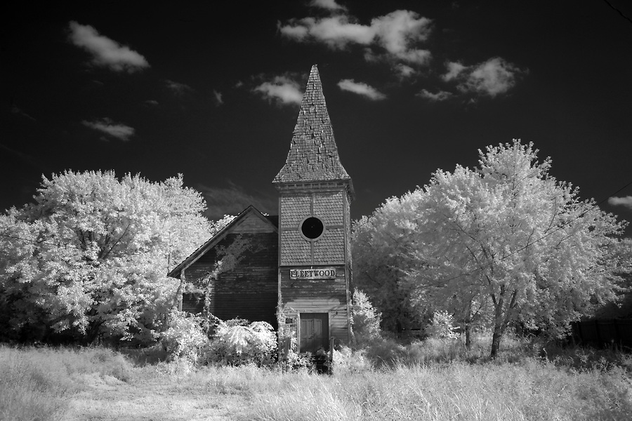 An infrared image of the old Fleetwood building  photographed off Highway 29 in Culpeper, Virginia. Photo/Andrew Shurtleff