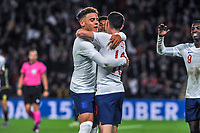 England Under 21's defender Max Aarons (2) celebrates with England Under 21's midfielder Phil Foden (10) during the UEFA Euro U21 Qualifying match between England U21 & Kosovo U21 at KCOM Craven Park, Hull, England on 9 September 2019. Photo by Stephen Buckley / PRiME Media Images.