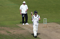 Matthew Lamb of Warwickshire acknowledges the crowd after reaching 150 runs during Warwickshire CCC vs Essex CCC, Specsavers County Championship Division 1 Cricket at Edgbaston Stadium on 11th September 2019
