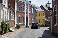 Street scene in medieval Ribe centre in South Jutland, Denmark