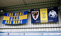 AFC Wimbledon flags on show prior to the Carabao Cup match between AFC Wimbledon and Brentford at the Cherry Red Records Stadium, Kingston, England on 8 August 2017. Photo by Carlton Myrie.