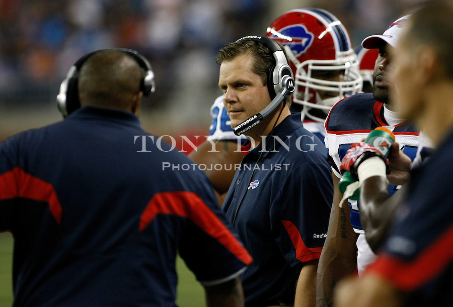 Buffalo Bills special teams coordinator Bruce DeHaven, center, on the sideline in the second quarter of a preseason NFL football game with the Detroit Lions, Thursday,  Sept. 2, 2010, in Detroit. (AP Photo/Tony Ding)