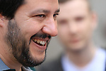 Lega nord leader's Matteo Salvini attends a meeting with MarioTagnin in Bolzano, on May 5, 2016.