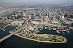 Aerial view over downtown Long Beach, CA
