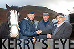 Joe Daly Valentia Island left and Paddy Curnane Caherciveen do a deal with John O'Mahony Portmagee overseeing the agreement at the Gap of Dunloe horse fair on Sunday